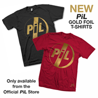 New PiL Gold foil t-shirts now on sale via the official PiL webstore