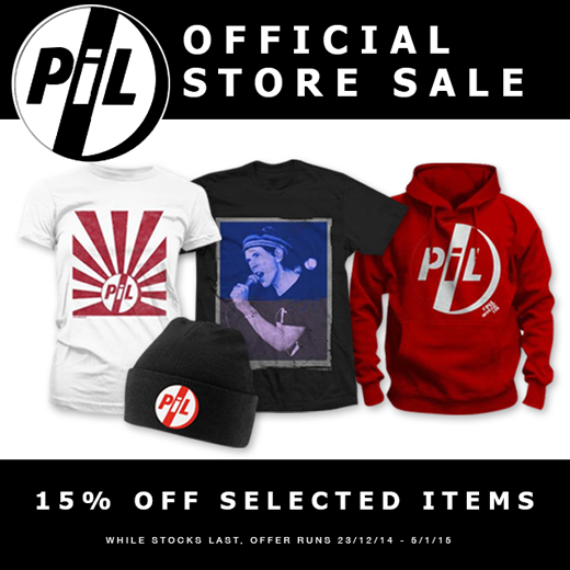 15% off selected items in PiL webstore (UK/Rest of the World) while stocks last. Offer runs December 23rd 2014 to January 5th 2015.