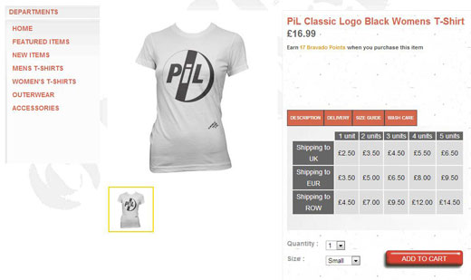 PiL UK / Europe merchandise stor