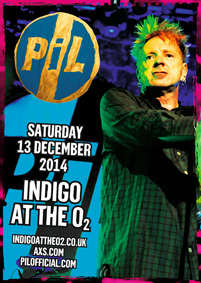 PUBLIC IMAGE LTD (PiL) ANNOUNCE ONE-OFF SHOW AT LONDON O2 INDIGO, DECEMBER 13th 2014